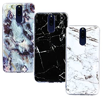 CLM-Tech 3 x Funda para Huawei Mate 10 Lite, Carcasa Cuero sintético, Flip Case con Soporte y Ranuras para Tarjetas, Mármol Negro Blanco