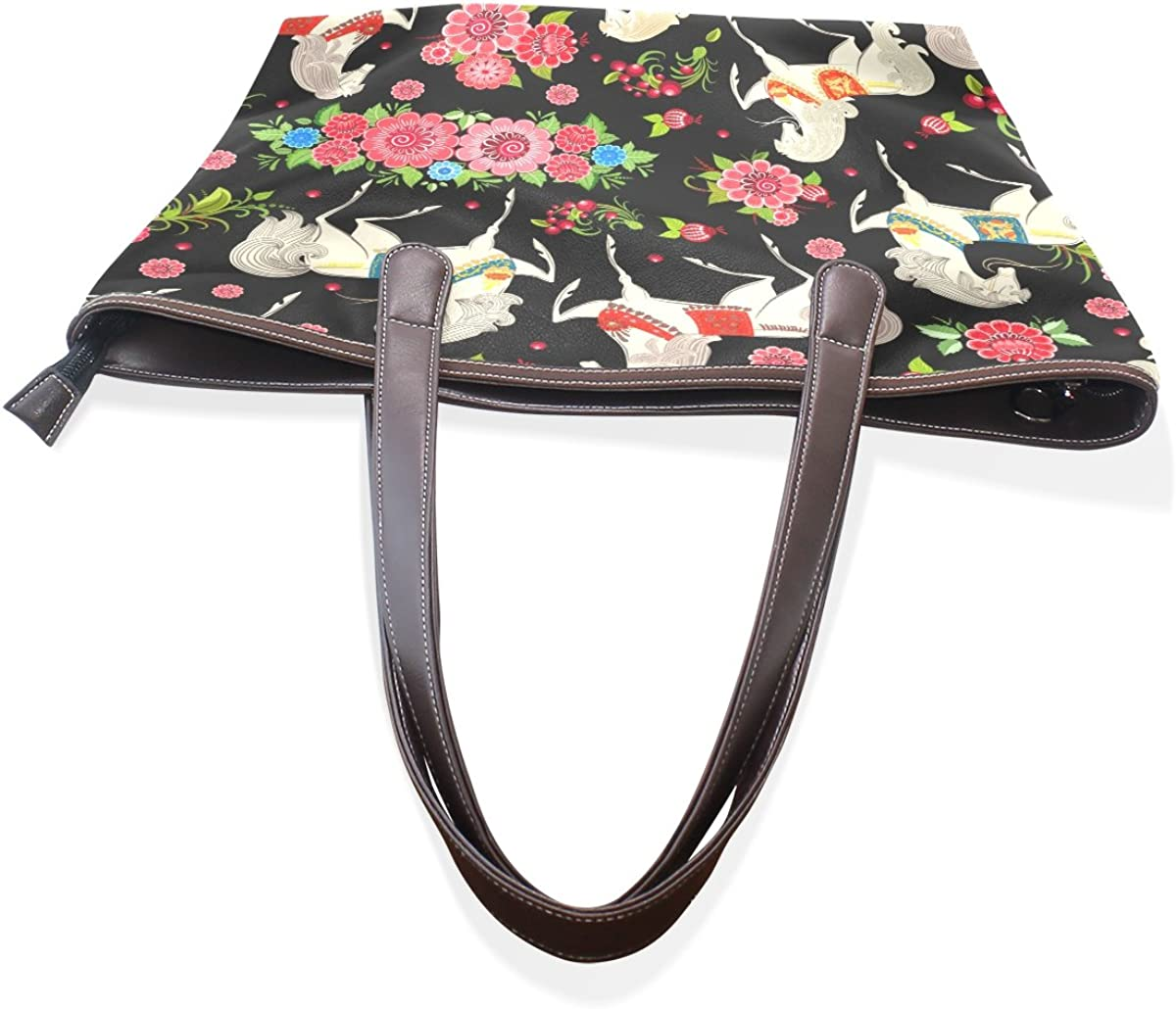 AURELIOR Retro Horses In Flowers Handbags For Women Girls PU Leather Shoulder Tote Bag