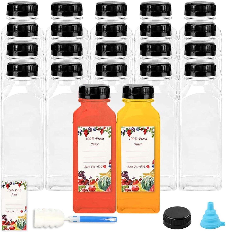 16oz Plastic Juice Bottles Disposable, 22pcs Empty PET Reusable Containers with Black Tamper Evident Caps Lids for Juice, Milk, Tea and Other Beverages