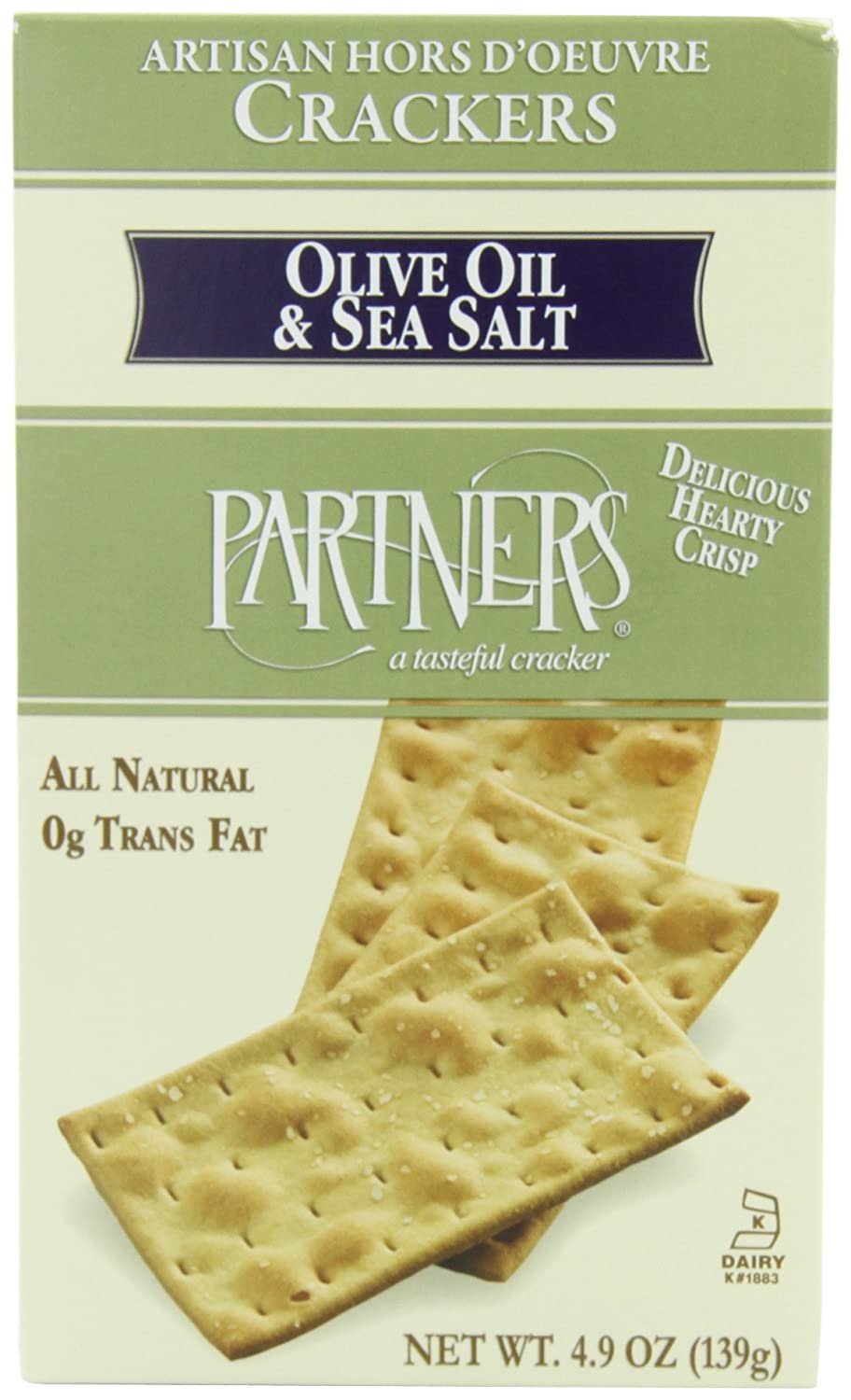 Partners Olive Oil & Sea Salt, Hors D'oeuvre Crackers, 4.9-Ounce Boxes (Pack of 6) Hors D'oeuvre Crackers