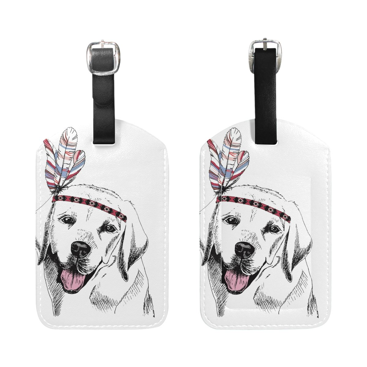 1Pcs Saobao Travel Luggage Tag White Dog PU Leather Baggage Suitcase Travel ID Bag Tag