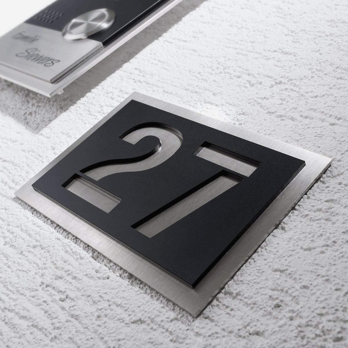 Design Num/éro de maison en acier inoxydable/ /Plaque avec jusqu/à trois chiffres en verre acrylique de grande qualit/é en noir Les Polices possible de Metzler Trade/®