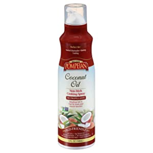 Pompeian Coconut Oil Non-Stick Cooking Spray, Subtle Coconut Flavor, Perfect for Seafood and Baking Coating, Naturally Gluten Free, Non-Allergenic, Non-GMO, No Propellants, 5 FL. OZ., Single Bottle