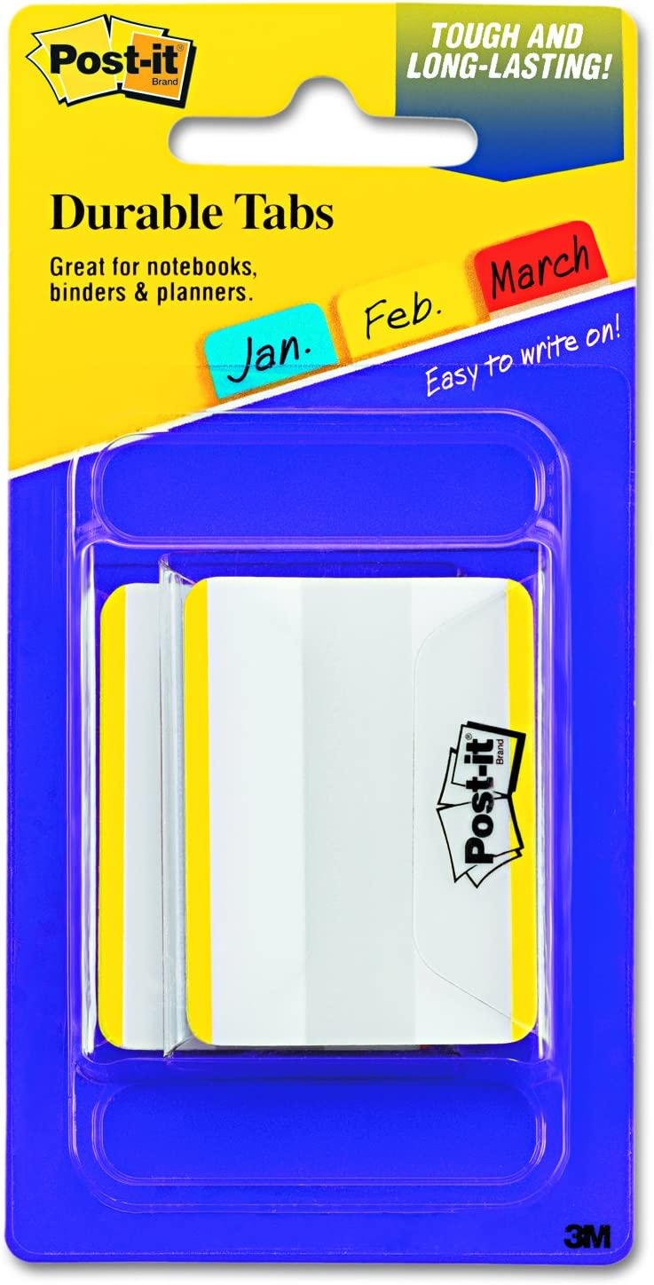 Yellow Color Bar 2 Sold as 1 Package 50//PK Durable Filing Tabs Flat