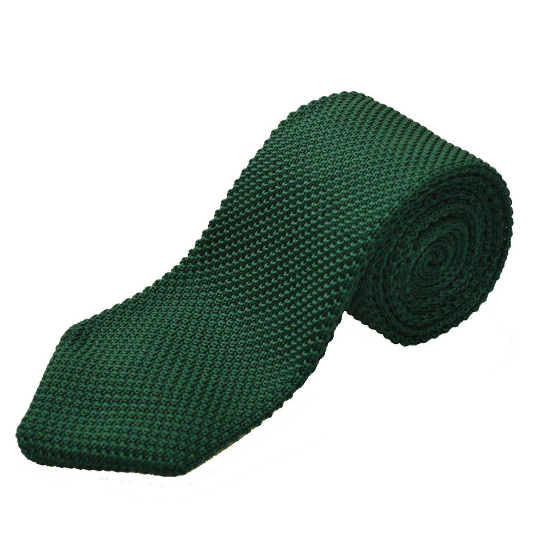Alizeal Estructura-Corbata Ancha de Punto para Hombre Verde Oscuro ...