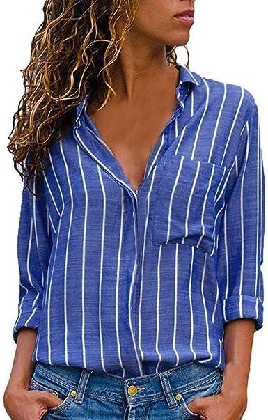 Fossen Mujer Camisas de Manga Larga Botones Camisetas de ...
