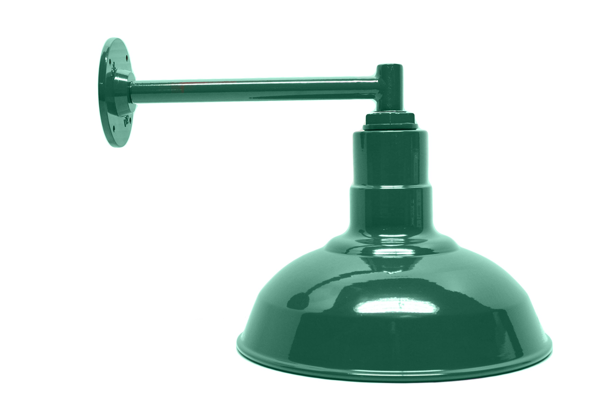 The Standard Light Kit | Green 12 Inch Standard Steel Shade | 11 Inch Short Stem Wall Mounted Steel Arm | Made in the USA