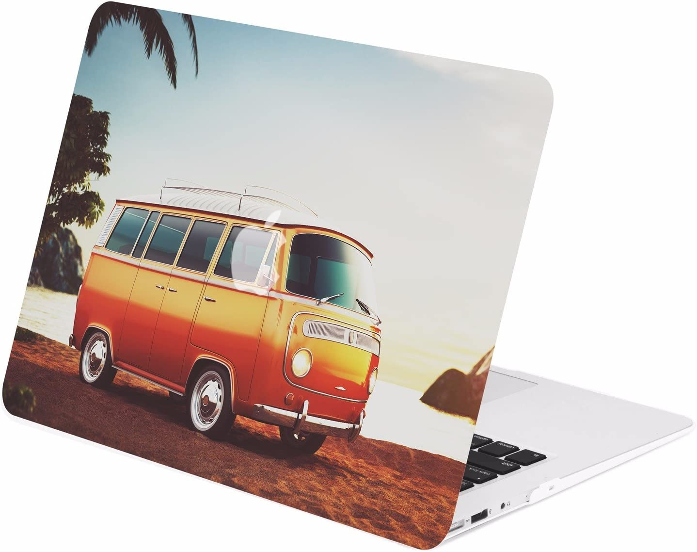 "TOP CASE - Retro Series Rubberized Hard Case Compatible Older Generation MacBook Air 13"" A1369 / A1466 (Release 2010-2017) - Hipster Bus"