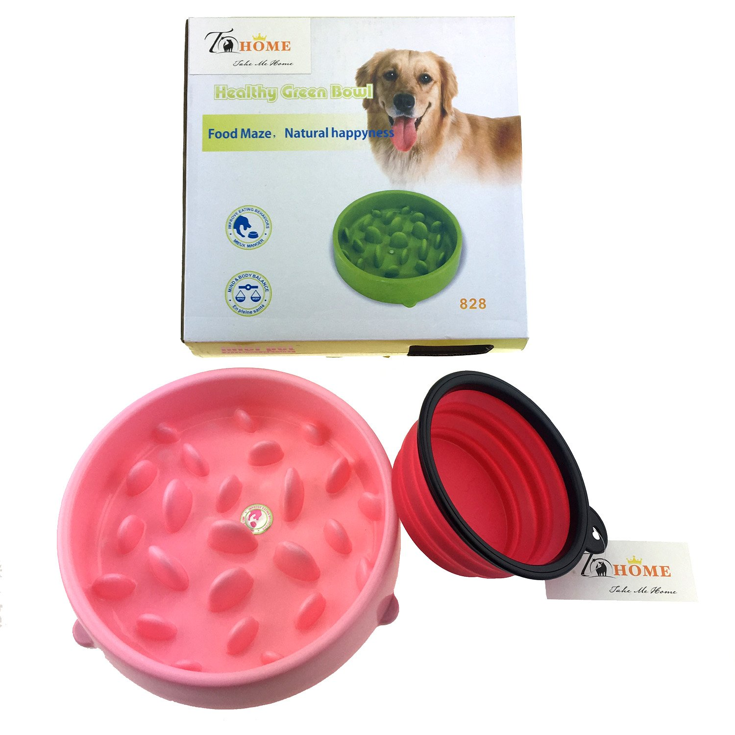 Aduck Slow Feed Dog Bowl, Anti-gulping Pet Food Feeder Stopping Bloat from Eating too Fast, Portable FDA Silicone Travel Bowl Includes, Pink