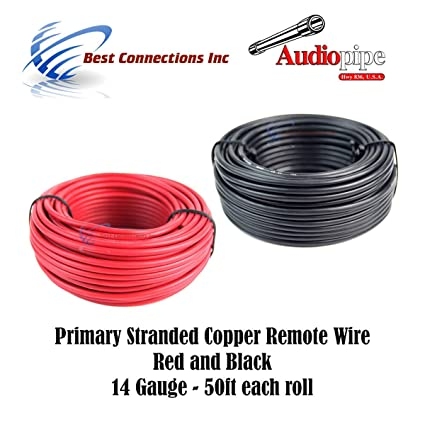 Copper wire 14 gauge stranded wire center 14 gauge wire red black power ground 50 ft each primary stranded rh amazon com 14 awg stranded wire 14 gauge stranded copper wire resistance greentooth Choice Image