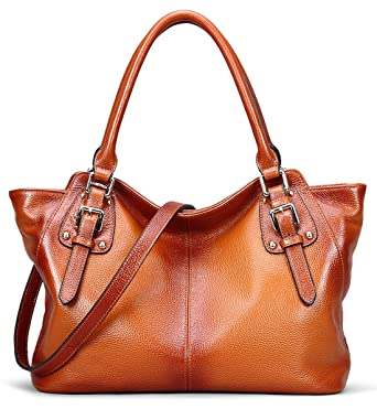367b2d2234 BIG SALE-AINIMOER Women Vintage Soft Genuine Leather Tote Shoulder Bag Top-handle  Cross