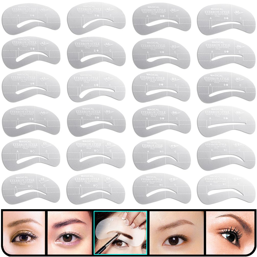 KINGMAS 24 pcs Eyebrow Stencils Reusable Eyebrow Drawing Guide Card Brow Shaping Template DIY Makeup Tools
