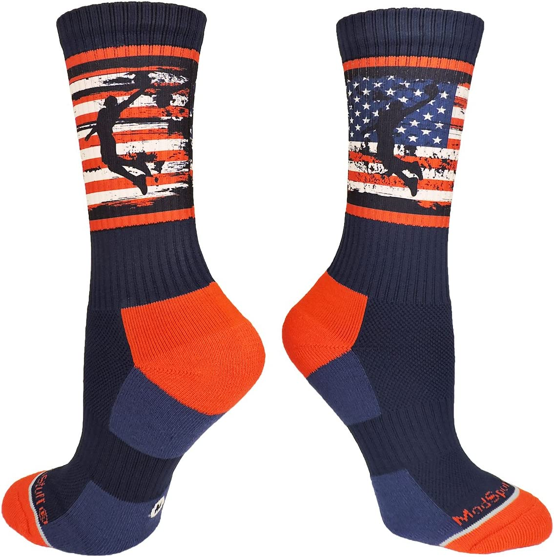 MadSportsStuff USA Basketball Socks with American Flag and Player Crew Length