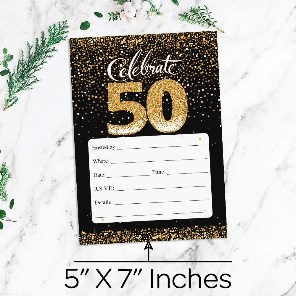 Amazon.com: 50th Birthday Party Invitation Cards with Envelopes, 25 ...