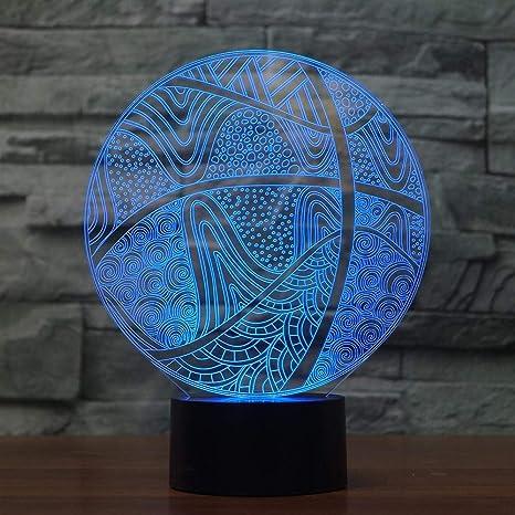 BFMBCHDJ Baloncesto 3D Night Light LED 7 Color Changing Sport USB ...