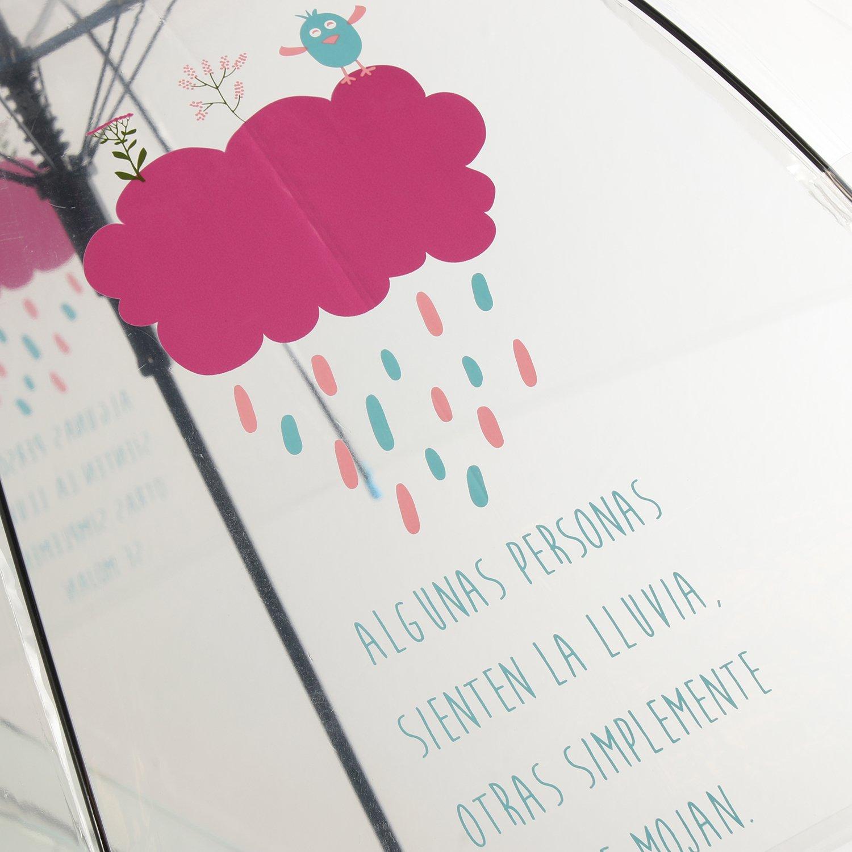 DRW - Paraguas Mensaje Positivo Transparente Algunas Personas sienten la Lluvia 85x84cm: Amazon.es: Hogar