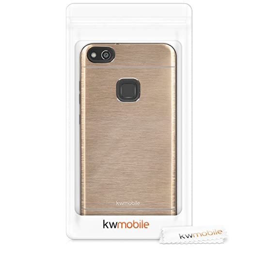 kwmobile Case for Huawei P10 Lite - Durable Shockproof Aluminum Protective Smartphone Back Cover - Gold