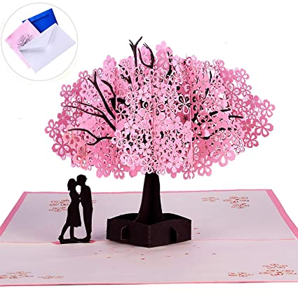 amazon com 3d pop up handmade cherry blossom greeting cards