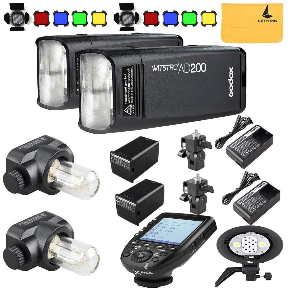 GODOX AD200 TTL 2.4G HSS 1/8000s 2X Pocket Flash Light Double Head 200Ws with 2900mAh Lithium Battery+GODOX AD-B2 Flash Head,BD-07,GODOX XPro-C Flash Trigger Compatible for Canon Camera by Godox