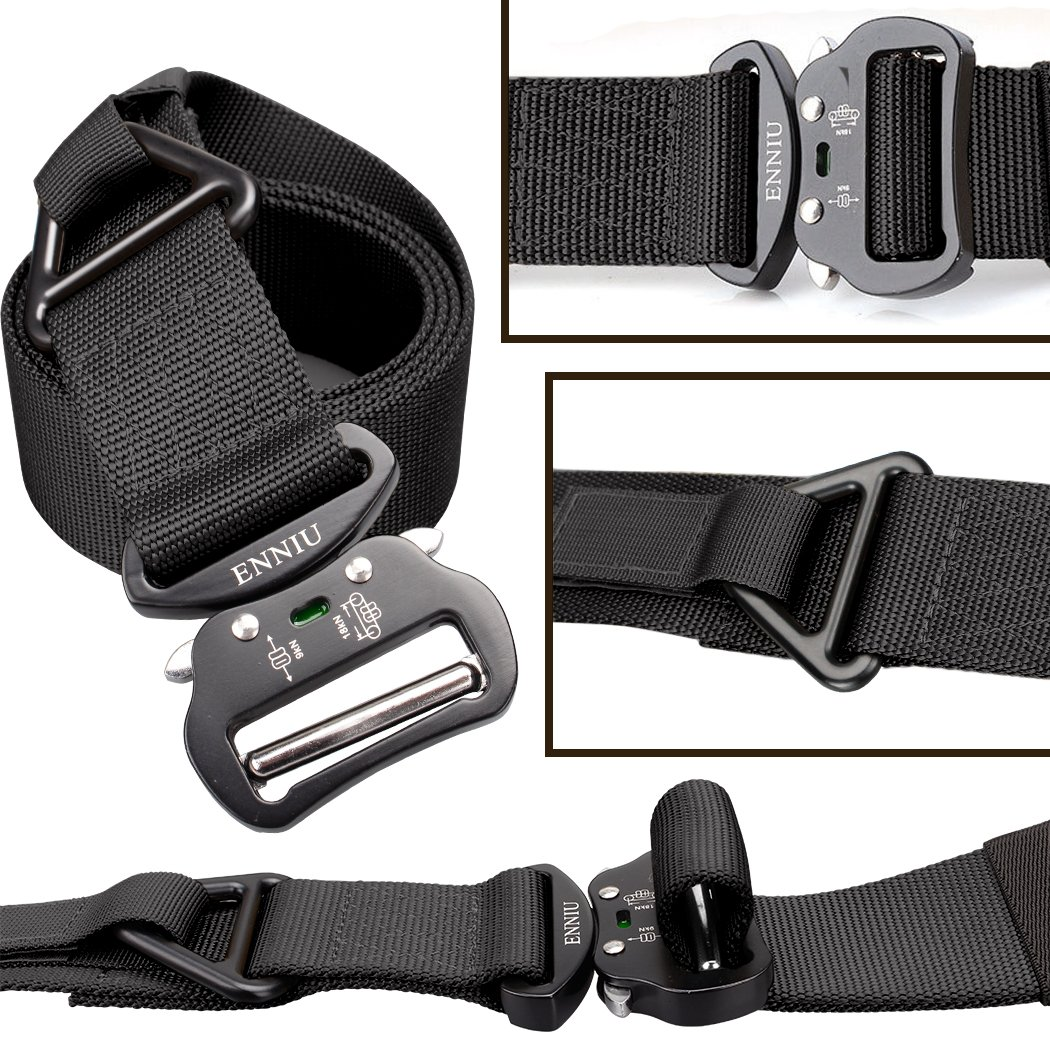 IDOGEAR Mens 1.75 Inch Tactical Belt Heavy Duty Webbing Belts Adjustable Military Style Nylon Belts with Quick Release Aluminum Alloy Insert Buckle