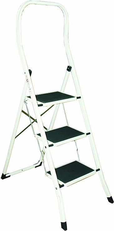 Klappleiter,stahl klapptritt stahlrohr eisenplatte pp kunststoffplatte matte belastung 120 kg pro schicht 42 x 48 x 41,5 cm wei/ß