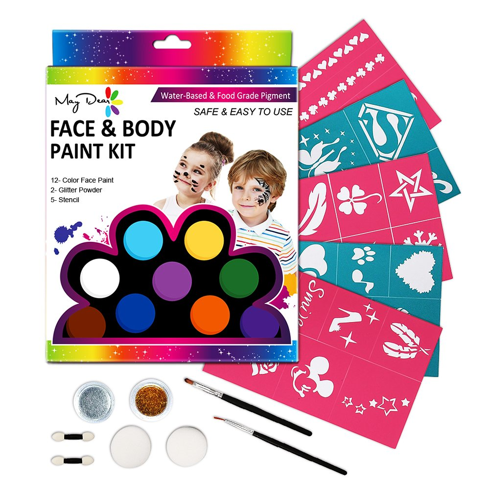 Maydear Face Paint Kit for Kids with Safe and None Toxic FDA Compliant Water Based 12 Color Palette (Large) and 2 Glitters with 30 Stencils, 2 Brushes, 2 Sponges and 2 Foam Applicators