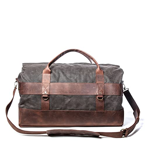 4f5bab57aa Stylish Handmade Weekend Bag - Waxed Canvas   High Quality Leather Shoulder  Strap - Holdall Travel Bag With Waterproof Lining   Elegant Design - Ideal  Gym ...