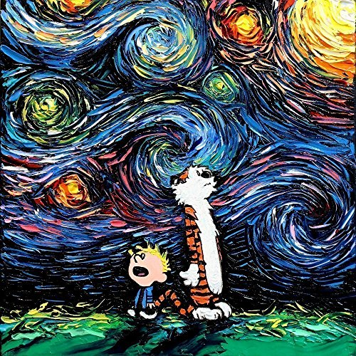 Calvin and Hobbes Inspired Art poster PRINT What If van Gogh Had An Imaginary Friend? - Art by Aja 8x8, 10x10, 12x12, 20x20, 24x24 inches
