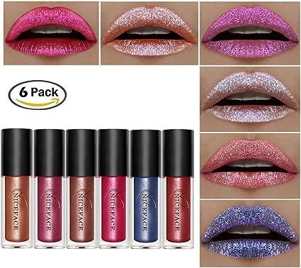 Pintalabios de Liuquid de 6 colores, brillo de labios Moresave, brillo labial líquido de larga duración para ...