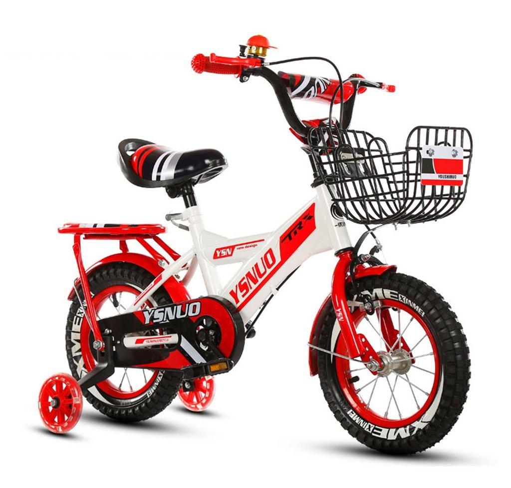 子供の自転車12|14|16|18インチアウトドアの子供ベイビーキッドマウンテンバイクフラッシュトレーニングホイールで2歳から10歳の男の子の女の子の贈り物|アイアンバスケット|スポンジバックシートセーフロード50KGレッド B078B4CT2Y18 inches