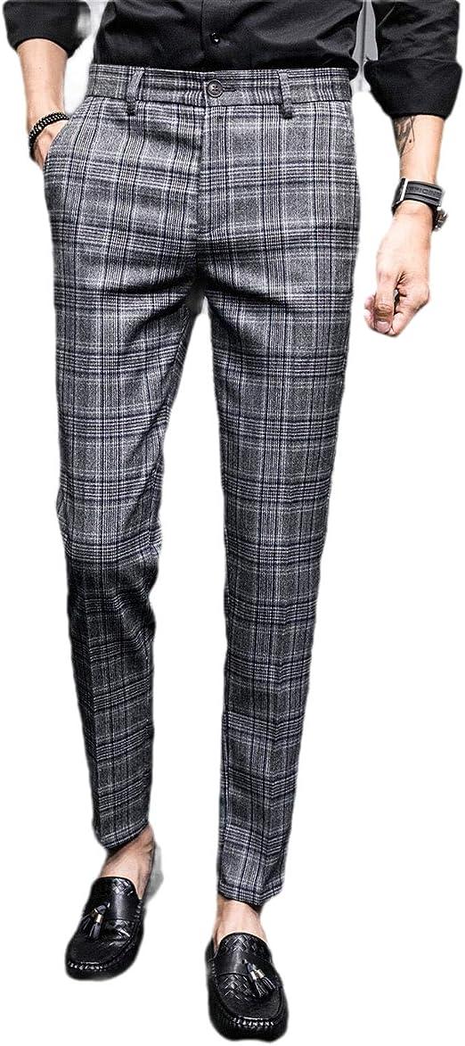 AngelSpace Mens British Style Business Slim Plaid Plain-Front Dress Pant