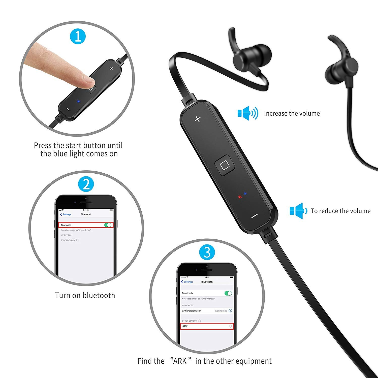 Bluetooth Earbuds, Wireless. Headphones Headsets Stereo in-Ear Earpieces Earphones with Noise Canceling Microphone.6 by SHBGU (Image #2)