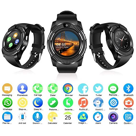 best service 44eb1 d4d6f Smart Watch,Bluetooth Smartwatch Touch Screen Wrist Watch with Camera/SIM  Card Slot,Waterproof Smart Watch Sports Fitness Tracker Compatible with ...