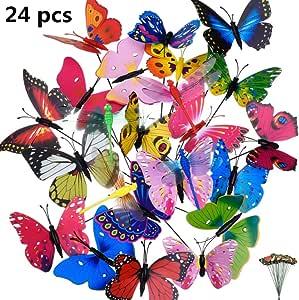 byou Estacas de Mariposas de Jardín 20 Piezas y 4 Piezas Estacas de Libélulas Coloridas de Jardín Adornos de Patio en Palos para Decoración de Planta Yarda Exterior Ornamento de Jardín 30 *