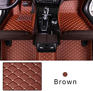 Car Floor Mat Custom Made For Most models Full Coverage Interior Protection Waterproof Non-Slip Leather Mat Brown