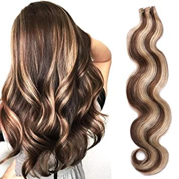 Body Wave Tape On Hair Extensions With Highlights Medium Brown With Strawberry Blonde Mixed Wavy Glue In Extensions Seamless Skin Wefts Remy Hair 22