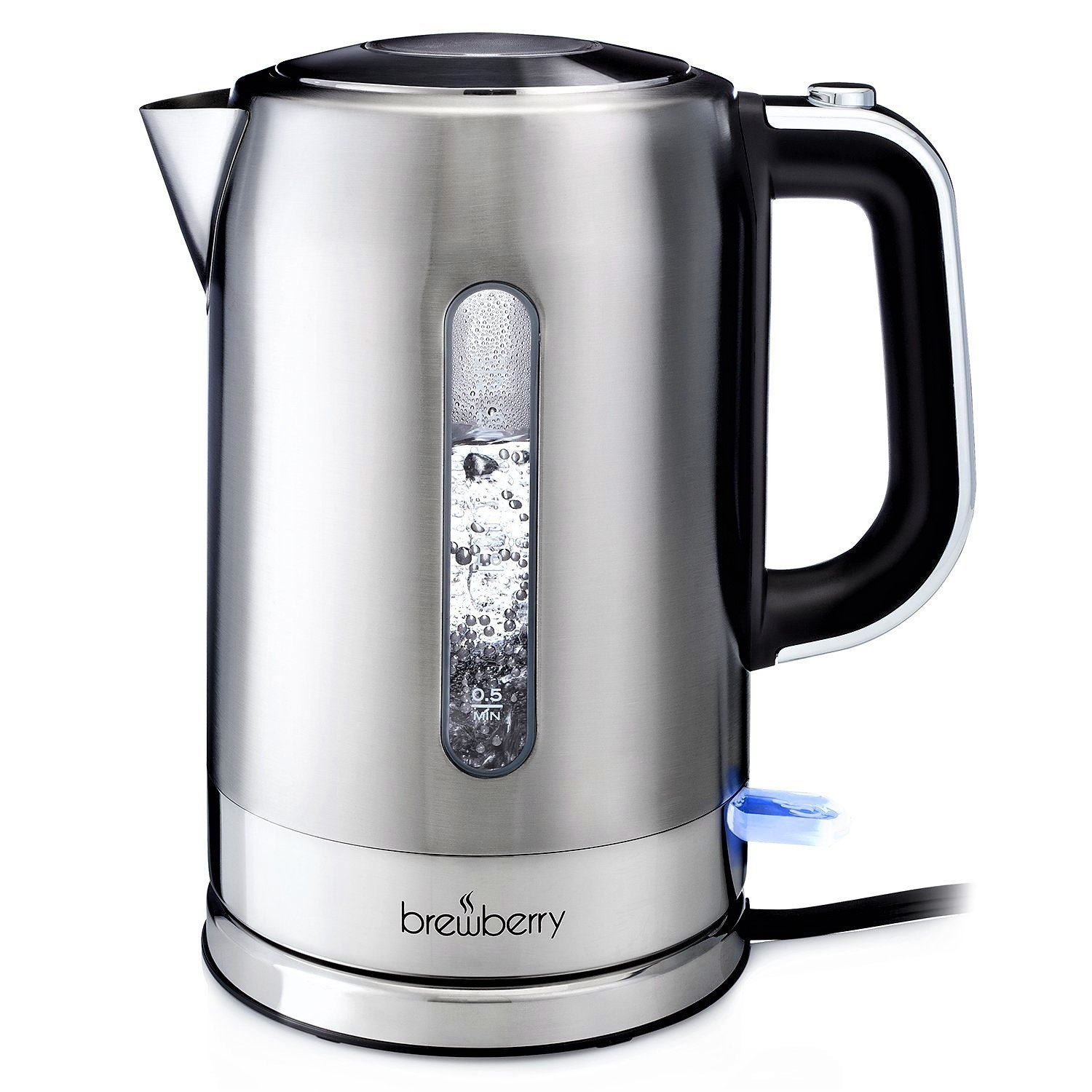 Brewberry Cordless Electric Kettle 1.7l, Stainless Steel Tea Kettle, Hot Water Pot w/ Auto Shut-Off Function and Boil-Dry Protection, For Office and Home Use, 1.7 Liter BR-KG5-US