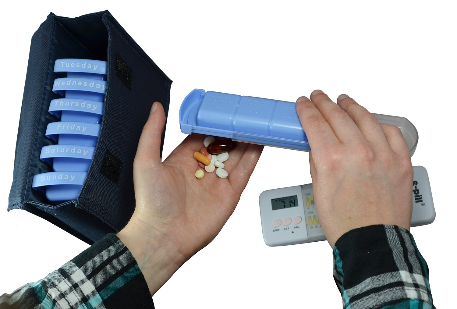 Amazon.com 7 Day x 4 Large Capacity Pill Box with Alarm Timer. Weekly Pill Box Organizer System for Medications Supplements and Vitamins.  sc 1 st  Amazon.com & Amazon.com: 7 Day x 4 Large Capacity Pill Box with Alarm Timer ... Aboutintivar.Com
