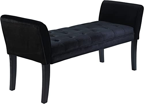 Armen Living Chatham Bench in Black Velvet and Black Wood Finish