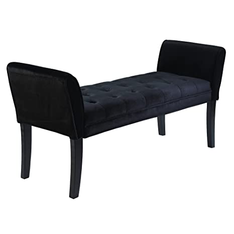 Marvelous Armen Living Chatham Bench In Black Velvet And Black Wood Finish Beatyapartments Chair Design Images Beatyapartmentscom