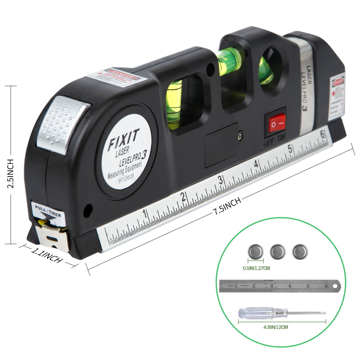 Laser Level,Exceedt 8ft Multipurpose Laser Measure Line Adjustable Standard and Metric Tape Ruler (Screwdriver & Beam Adjusted Tool Included)