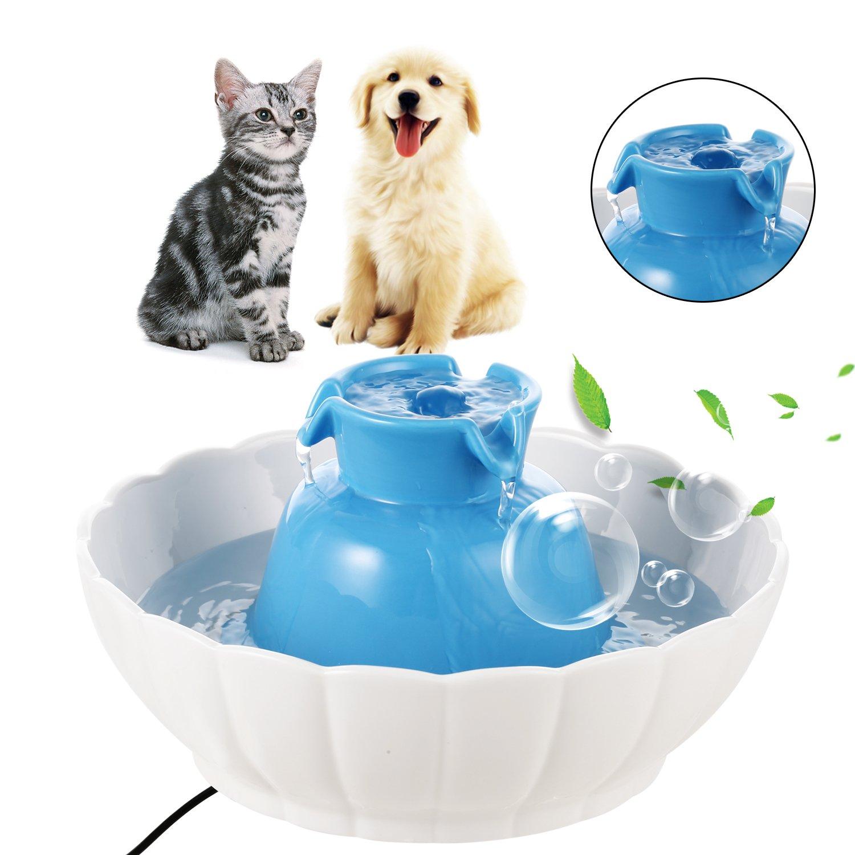 Coorun 2.1L eléctrico (mascotas cerámica Watter Brunnen 901100 - Fuente para perros gatos saludable - Cuenco Azul: Amazon.es: Productos para mascotas