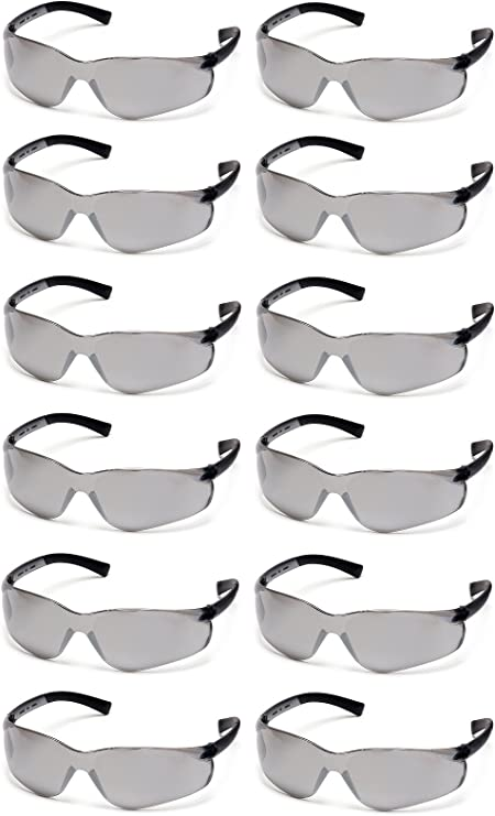 PYRAMEX ZTEK SAFETY GLASSES SILVER MIRROR LENS SUNGLASSES S2570S Z87+ 12 PAIR