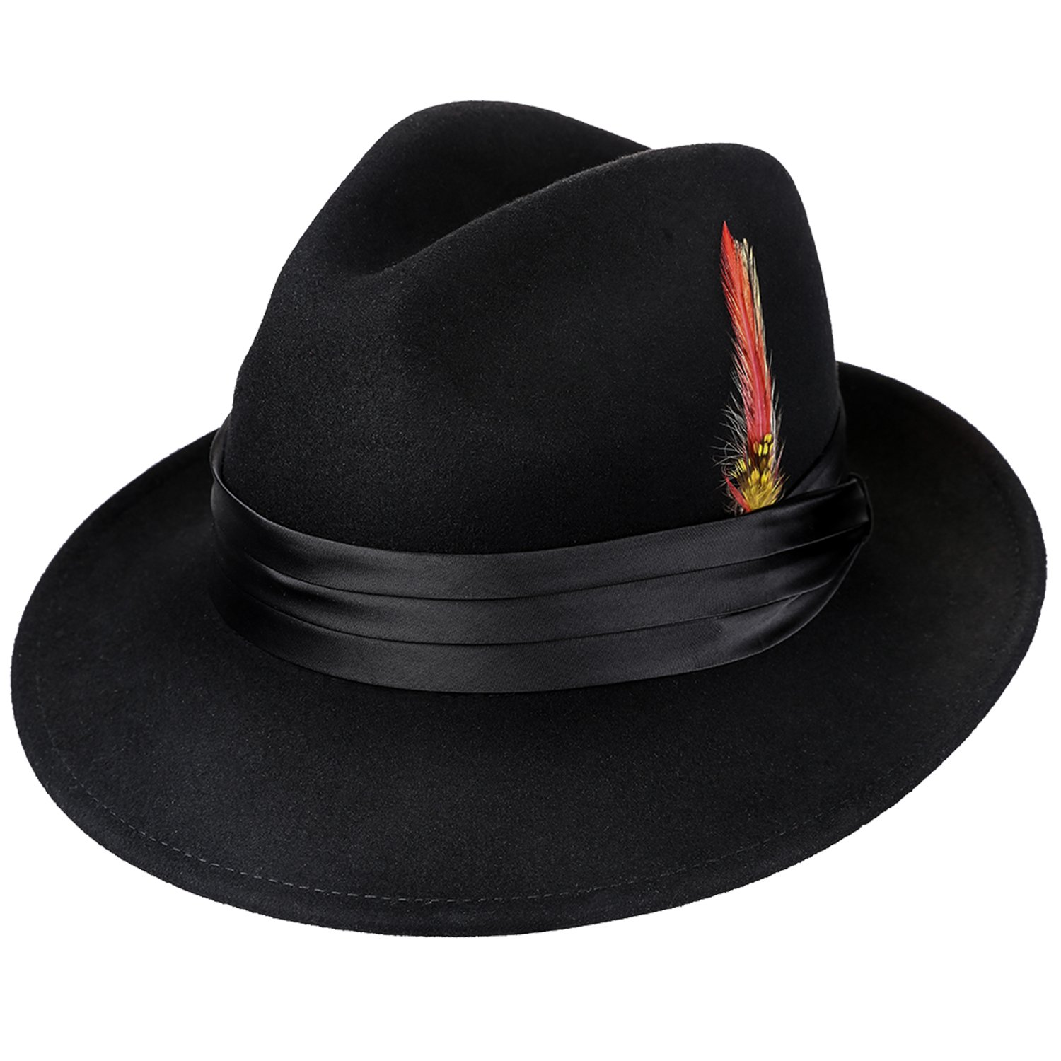 Deevoov Men Fedora Hats with Feather Australia Wool Trilby Hat