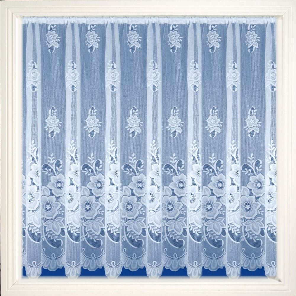 """Maple Textiles Brilliant White Meghan Floral Net Curtain Sold by the Metre (54"""" - 137cm)"""