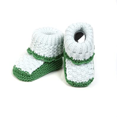 Baby Oodles Light & Dark Green Patterned Crocheted Woollen Baby Booties cheap sale new styles visit j1g11g