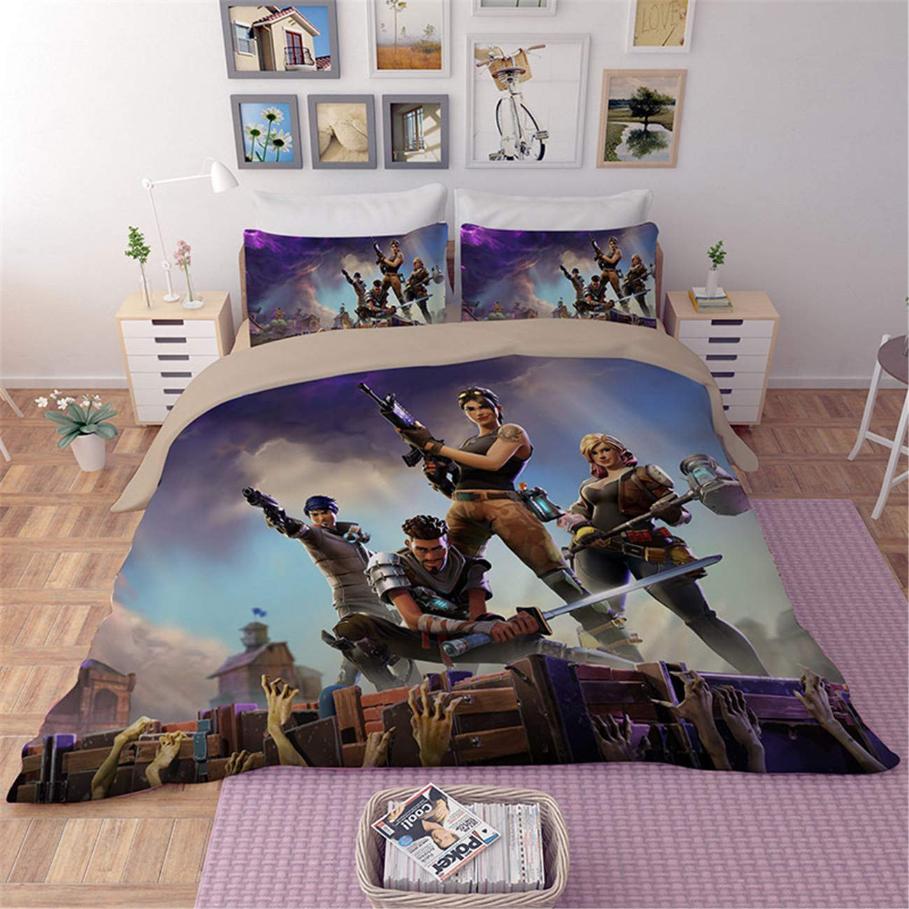 Fairy Kaari 3D Fortnite Duvet Cover Set Kids Teens Adults Best Gift for Beloved Cartoon Bedding 3-Piece 100/% Microfiber Bed Set 1Duvet Cover.2Pillow Shames Twin Full Queen King Size