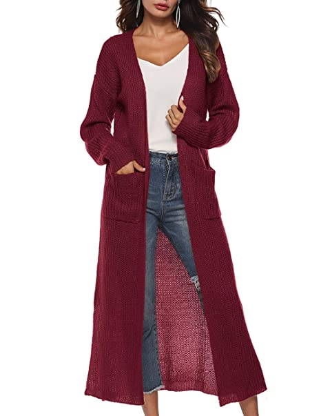 Striped Button Down Crochet Knit Long Sleeve Cardigan w/ Pockets Fashion Central Women's Clothing Clothing, Shoes & Accessories