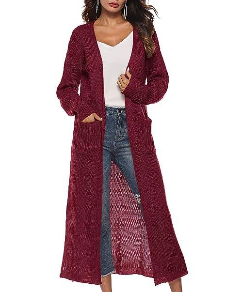 Amazon.com: Cárdigan largo para mujer con bolsillos ...