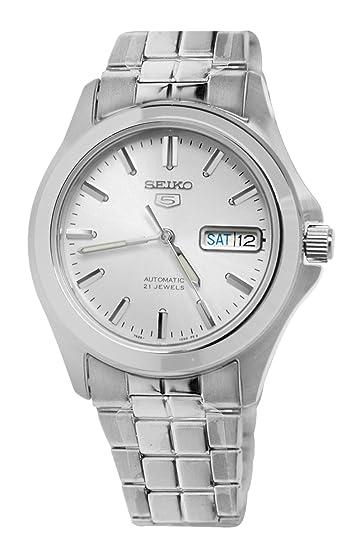 Seiko SNKK87K1 - Reloj analógico de caballero automático con correa de acero inoxidable plateada - sumergible a 30 metros: Amazon.es: Relojes